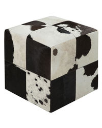 SWHF Square Leather Pouf, black and white