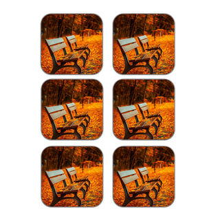 MeSleep Autumn Chairs Wooden Coaster-Set Of 6, Ora...