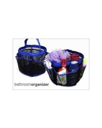 KGN Annexe 8 Pocket Shower Caddy Travel size foldable basket with handle, black and blue
