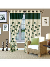 Story At Home Berry Designer Jaquard Eyelet 1 Piece Window Curtain Set-wbr4016, green
