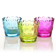 Importwala Swirl Votive Holders, multicolor