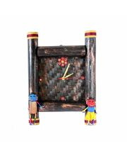 Square Bamboo Wall Clock, black