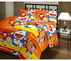 Doremon Double Bedsheet With 2 Pillow Covers, multicolor