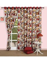 Bright Floral Curtain (Multicolor,Curtain(54 Inch X 60 Inch))