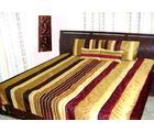 Double bed Quilt - Maroon shade Poly dupion silk - Ruffle design, multicolor