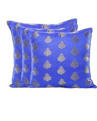 RangDesi Double Sided Brocade Cushion Covers Set of 3,  blue