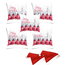 meSleep Set of 5 Merry Christmas Digitally Printed Cushion Cover (16x16) -With 2 Pcs,  white