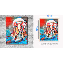 meSleep Canvas painting without frame - Ganpati, multicolor