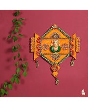 Wooden Orange Clay And Kundans Ganesh Hanging Wall Art (Multicolor)