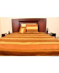 Banana Prints Set of Five Dupian Tagai Bed Cover - BC_ 3003, golden