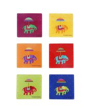 The Elephant Company Acrylic Coasters Flying Elephants, Multicolor