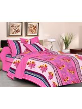 Welhouse India 100% COTTON Designer Double Bed Sheet with 2 Pillow Covers, design4