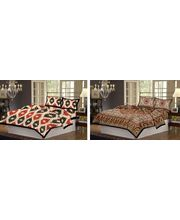 100% Cotton 2 Double Bed Sheet Set CH-RB-30-32, multicolor