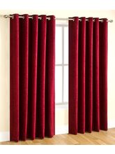 Elegance Plain Polyester Window Curtain Set Of 2 (...