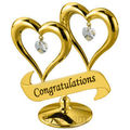 Double Heart (With Congratulations) 24K Gold Plated Gift With Swarovski Crystals (Gold)