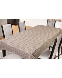 Freely Coffee Cotton Table Cover For 4 Seaters, multicolor