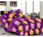 Welhouse India Floral Double Bed Sheet With 2 Pillow Covers, purple