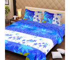 La Elite pure Thick Cotton Leaves Art Print Double Bed Sheet, blue