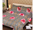 La Elite pure Thick Cotton Fetching Tiger Print Double Bed Sheet, brown