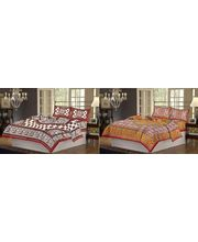 100% Cotton 2 Double Bed Sheet Set CH-WR-36-34, multicolor