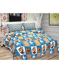 Freely Cotton Pure Cotton Double Bed Sheet With 2 Pillow Covers,  blue