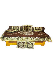 JBG Home Store Beautiful Chocolaty Ethnic Design Diwan Set- (Set Of 8 Pieces), Chocolate