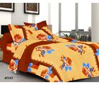 Welhouse India Rose Double Bed Sheet With 2 Pillow Covers, brown