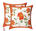 Coral Orange Floral Pigment Print Pure Cotton Cushion Cover Set, orange
