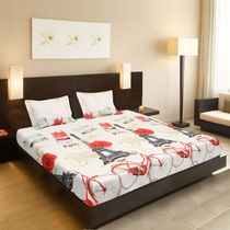 Valtellina Beige color cycle print Double bed sheet,  beige