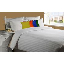 meSleep White 230Tc Satin Stripe Bed Sheet with 4 pc Vivid Velvet cushion covers., multicolor
