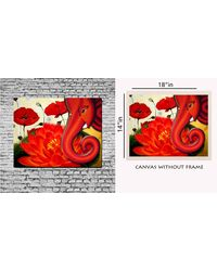 meSleep Canvas painting without frame - Ganesha with Flower,  red