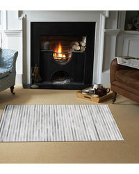 SWHF Large Leather Rug Stripes,  grey