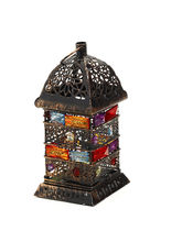 Gun Metal Lattice Design Tea Light Holder With Color Stones, Multicolor