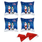 meSleep Set of 4 Merry Christmas Santa Digitally Printed Cushion Cover (16x16) -With Free 2 Pcs,  blue