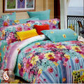 Evanescent Water Colour Floral Printed Bed Sheet Set BS139109, multicolor