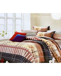 Crimson Cotton Double Bedsheet, multicolor