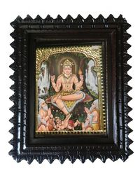 "Tanjore painting-Lord Dakshinamurthy 15"" x 12"", multicolor"