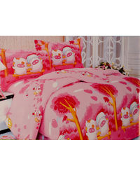 Pompe Kids Gang Single Bedsheet - pinky piggu - K011, multicolor