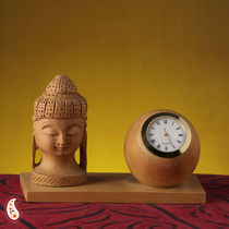 Buddha Head Time Piece White Wood Stand
