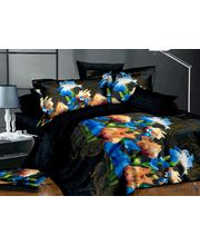 Story King Size Blue Flowers Double Bed sheet IM1034, multicolor