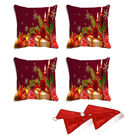 meSleep Set of 4 Merry Christmas Digitally Printed Cushion Cover (16x16) -With Free 2 Pcs,  red