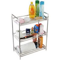 CiplaPlast Multipurpose Kitchen/Bathroom/Home Utility Rack, grey and gloss