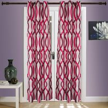 SWHF Printed Curtain Set of 2 Abstract,  red