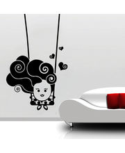 Creative Width Cute Baby On Swing Wall Decal, Multicolor, Small