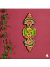 Green And Red Wood Clay And Kundans Wall Art (Multicolor)