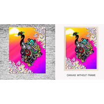 meSleep Canvas painting without frame -Peacock, multicolor