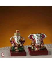Set Of Bhakti Ganesh Murtis Made In Ceramic With Enamel Work (Multicolor)