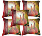 Belkado Digital Print-Set of 5 Sunset Painting Cushion Covers, multicolor