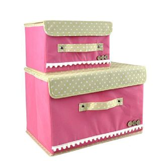 Home Union Foldable Storage Boxes Set Of 2, Pink
