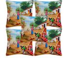 Villagers Life Cushion Covers, multicolor